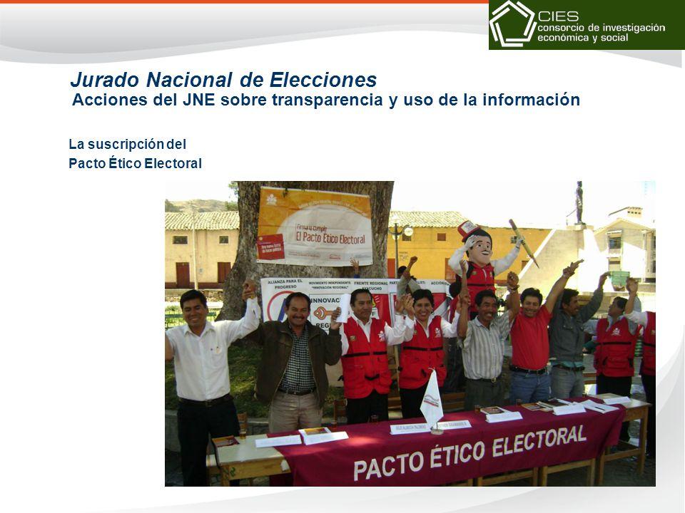 La suscripción del Pacto Ético Electoral Jurado Nacional de Elecciones Acciones del JNE sobre transparencia y uso de la información
