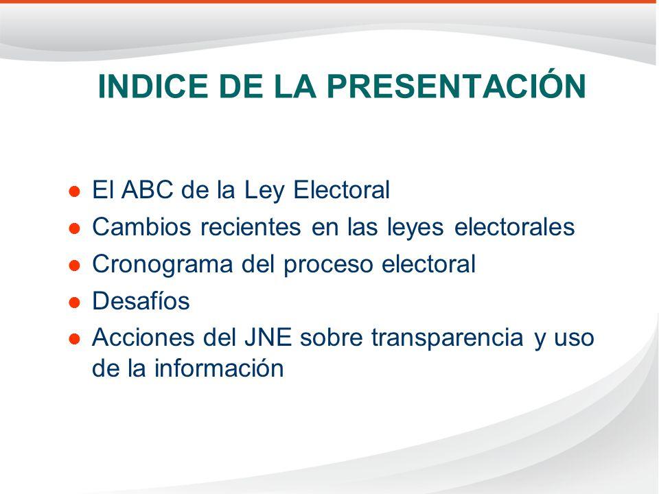 INDICE DE LA PRESENTACIÓN El ABC de la Ley Electoral Cambios recientes en las leyes electorales Cronograma del proceso electoral Desafíos Acciones del JNE sobre transparencia y uso de la información