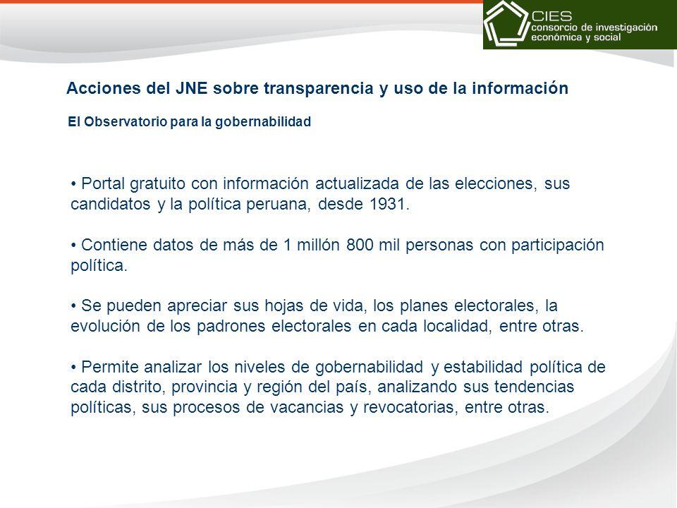 El Observatorio para la gobernabilidad Acciones del JNE sobre transparencia y uso de la información Portal gratuito con información actualizada de las elecciones, sus candidatos y la política peruana, desde 1931.