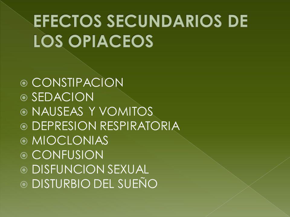 CONSTIPACION SEDACION NAUSEAS Y VOMITOS DEPRESION RESPIRATORIA MIOCLONIAS CONFUSION DISFUNCION SEXUAL DISTURBIO DEL SUEÑO