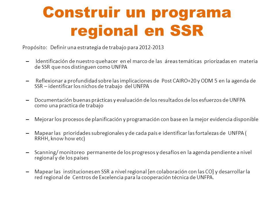 Construir un programa regional en SSR Propósito: Definir una estrategia de trabajo para 2012-2013 – Identificación de nuestro quehacer en el marco de
