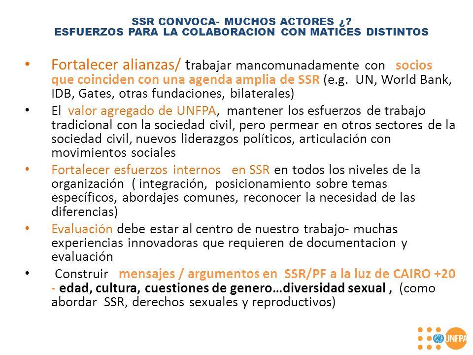Fortalecer alianzas/ t rabajar mancomunadamente con socios que coinciden con una agenda amplia de SSR (e.g.