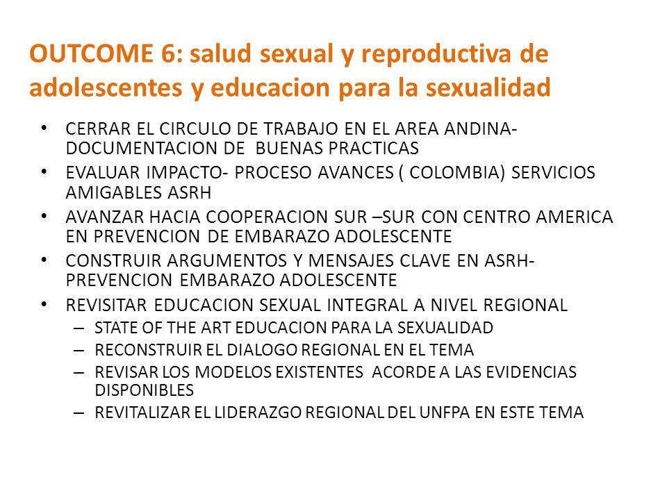 OUTCOME 6: salud sexual y reproductiva de adolescentes y educacion para la sexualidad CERRAR EL CIRCULO DE TRABAJO EN EL AREA ANDINA- DOCUMENTACION DE BUENAS PRACTICAS EVALUAR IMPACTO- PROCESO AVANCES ( COLOMBIA) SERVICIOS AMIGABLES ASRH AVANZAR HACIA COOPERACION SUR –SUR CON CENTRO AMERICA EN PREVENCION DE EMBARAZO ADOLESCENTE CONSTRUIR ARGUMENTOS Y MENSAJES CLAVE EN ASRH- PREVENCION EMBARAZO ADOLESCENTE REVISITAR EDUCACION SEXUAL INTEGRAL A NIVEL REGIONAL – STATE OF THE ART EDUCACION PARA LA SEXUALIDAD – RECONSTRUIR EL DIALOGO REGIONAL EN EL TEMA – REVISAR LOS MODELOS EXISTENTES ACORDE A LAS EVIDENCIAS DISPONIBLES – REVITALIZAR EL LIDERAZGO REGIONAL DEL UNFPA EN ESTE TEMA