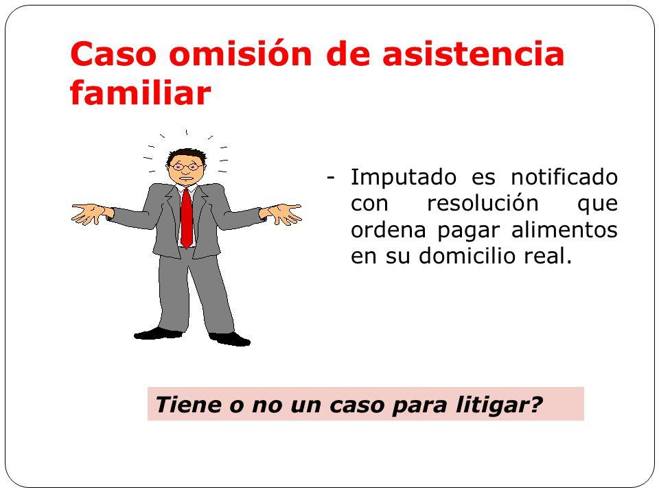 Caso omisión de asistencia familiar -Imputado es notificado con resolución que ordena pagar alimentos en su domicilio real.