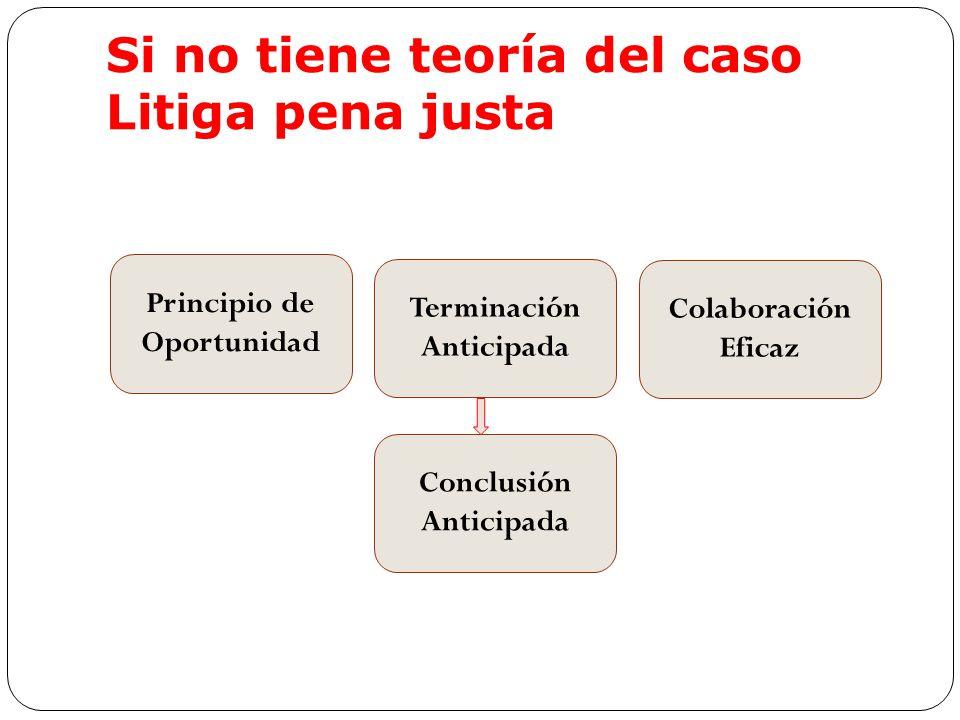 Si no tiene teoría del caso Litiga pena justa Principio de Oportunidad Terminación Anticipada Colaboración Eficaz Conclusión Anticipada
