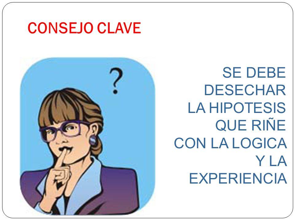 CONSEJO CLAVE SE DEBE DESECHAR LA HIPOTESIS QUE RIÑE CON LA LOGICA Y LA EXPERIENCIA