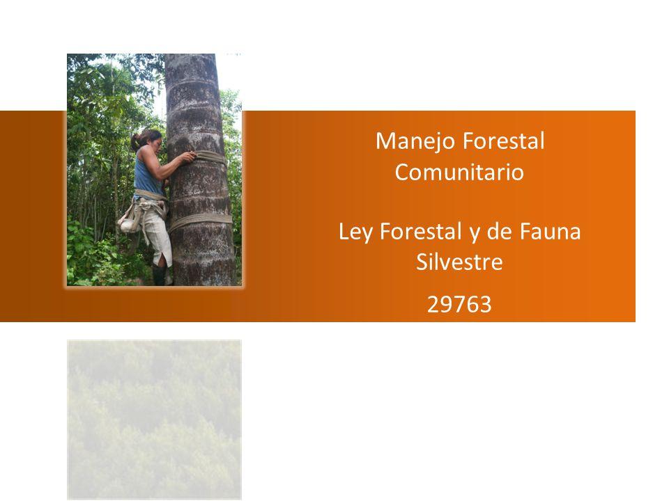 Manejo Forestal Comunitario Ley Forestal y de Fauna Silvestre 29763 Javier Martínez DAR