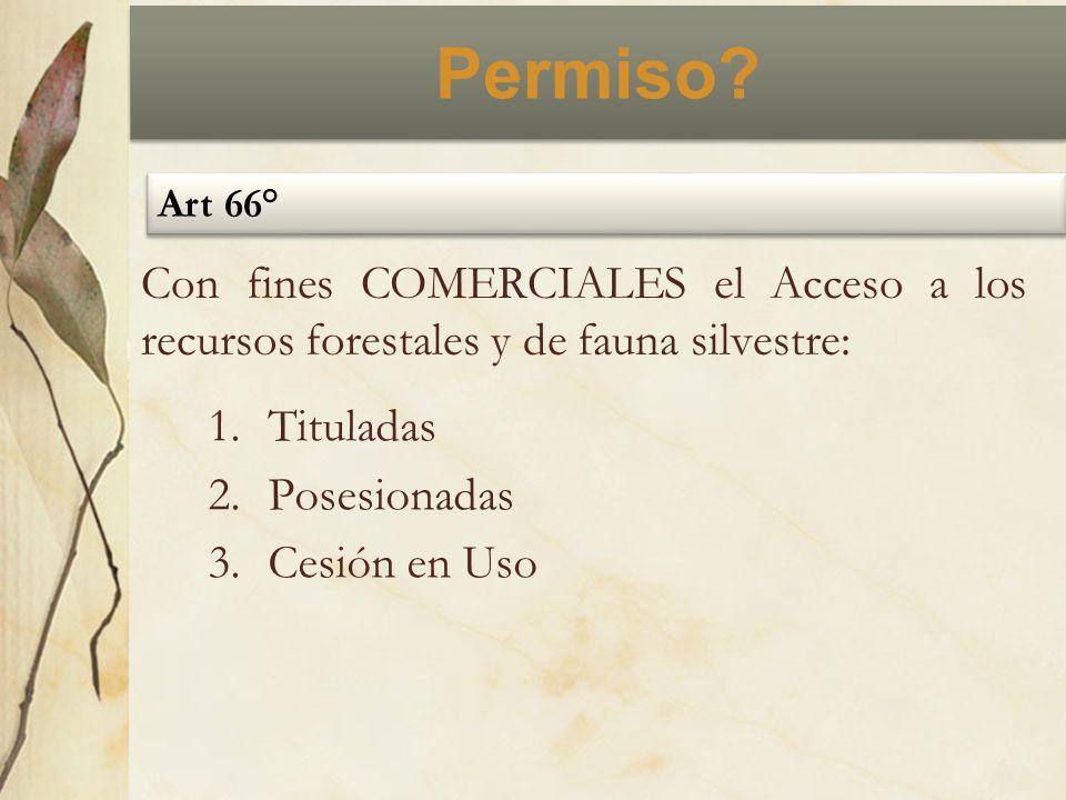 Permiso? Art 66° Con fines COMERCIALES el Acceso a los recursos forestales y de fauna silvestre: 1.Tituladas 2.Posesionadas 3.Cesión en Uso