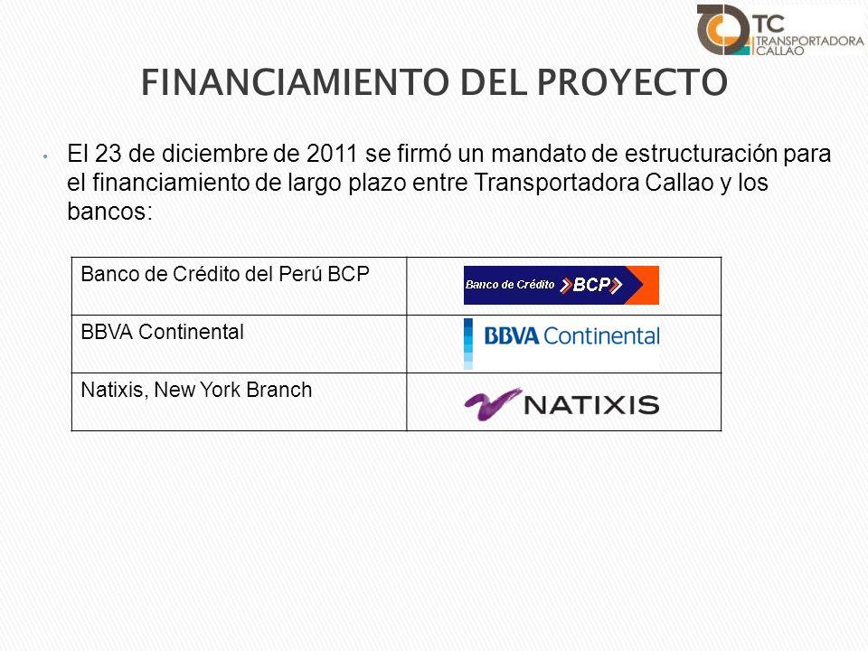 El 23 de diciembre de 2011 se firmó un mandato de estructuración para el financiamiento de largo plazo entre Transportadora Callao y los bancos: Banco