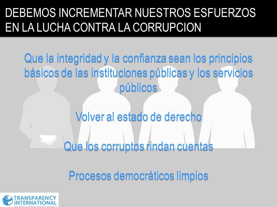 DEBEMOS INCREMENTAR NUESTROS ESFUERZOS EN LA LUCHA CONTRA LA CORRUPCION Que la integridad y la confianza sean los principios básicos de las institucio