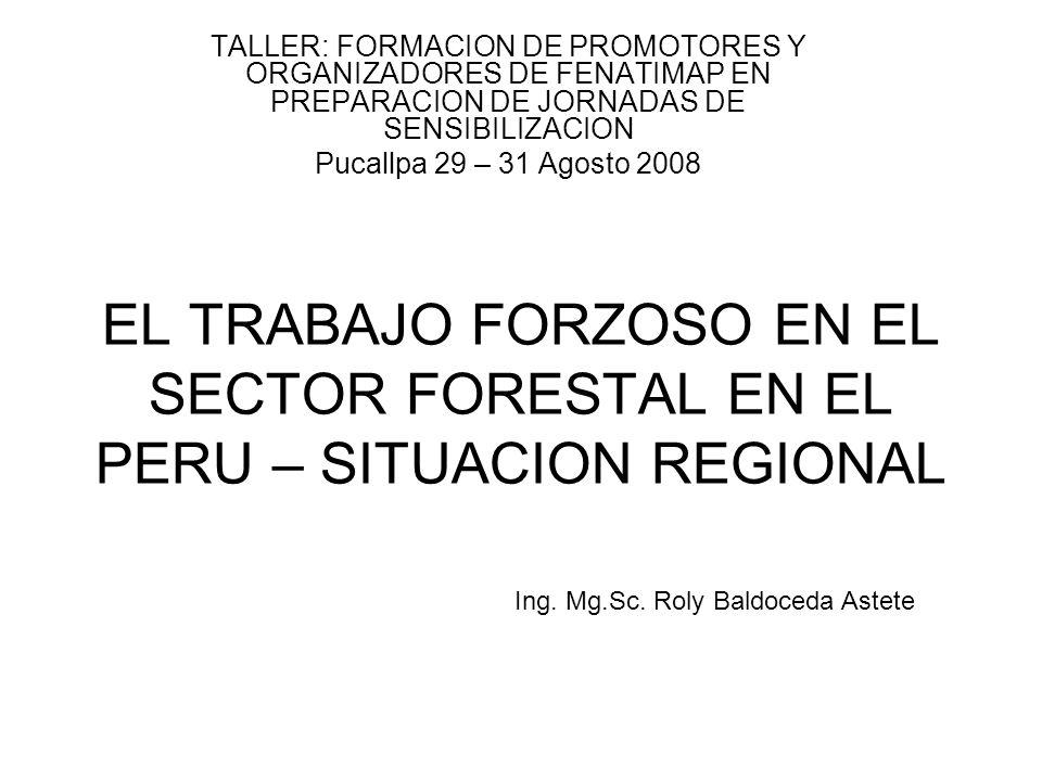 EL TRABAJO FORZOSO EN EL SECTOR FORESTAL EN EL PERU – SITUACION REGIONAL TALLER: FORMACION DE PROMOTORES Y ORGANIZADORES DE FENATIMAP EN PREPARACION D