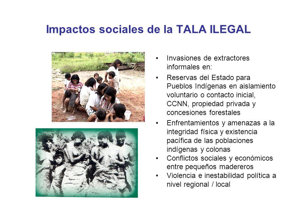 Impactos sociales de la TALA ILEGAL Invasiones de extractores informales en: Reservas del Estado para Pueblos Indígenas en aislamiento voluntario o co