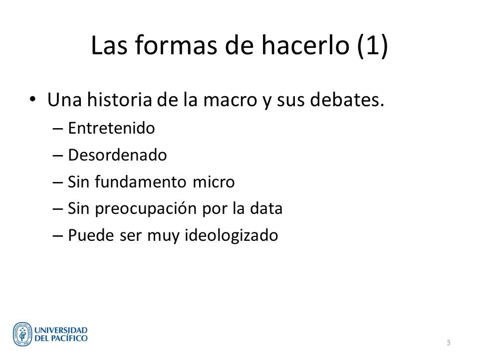 Las formas de hacerlo (1) Una historia de la macro y sus debates. – Entretenido – Desordenado – Sin fundamento micro – Sin preocupación por la data –