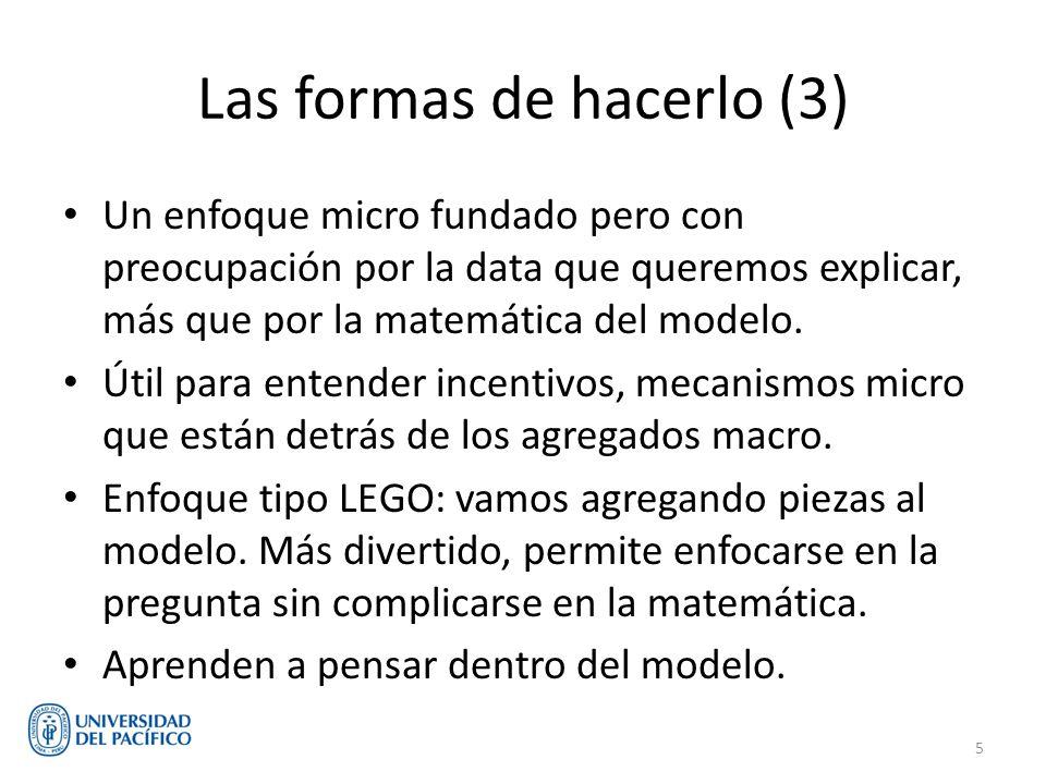 Las formas de hacerlo (3) Un enfoque micro fundado pero con preocupación por la data que queremos explicar, más que por la matemática del modelo. Útil