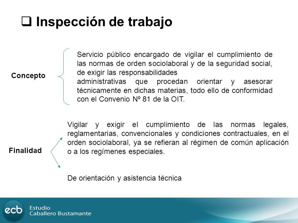 Servicio público encargado de vigilar el cumplimiento de las normas de orden sociolaboral y de la seguridad social, de exigir las responsabilidades ad