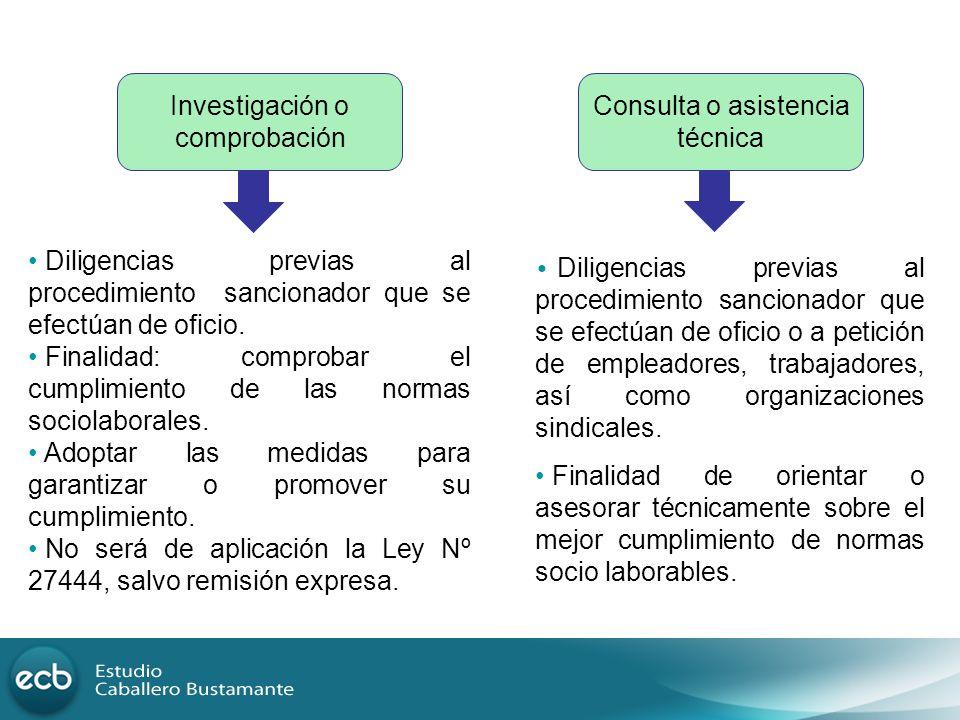 Investigación o comprobación Consulta o asistencia técnica Diligencias previas al procedimiento sancionador que se efectúan de oficio. Finalidad: comp