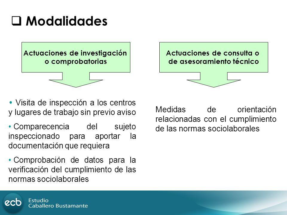 Modalidades Actuaciones de investigación o comprobatorias Actuaciones de consulta o de asesoramiento técnico Visita de inspección a los centros y luga