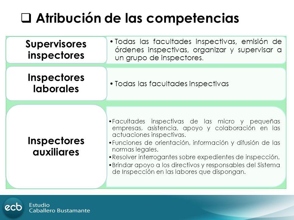Atribución de las competencias Todas las facultades inspectivas, emisión de órdenes inspectivas, organizar y supervisar a un grupo de inspectores. Sup