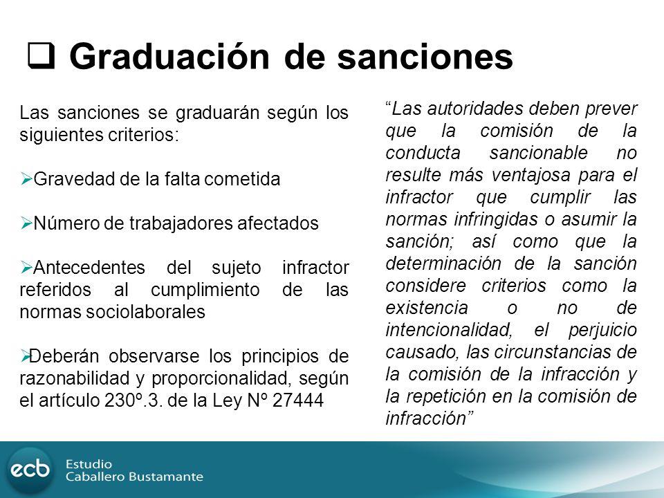 Graduación de sanciones Las sanciones se graduarán según los siguientes criterios: Gravedad de la falta cometida Número de trabajadores afectados Ante