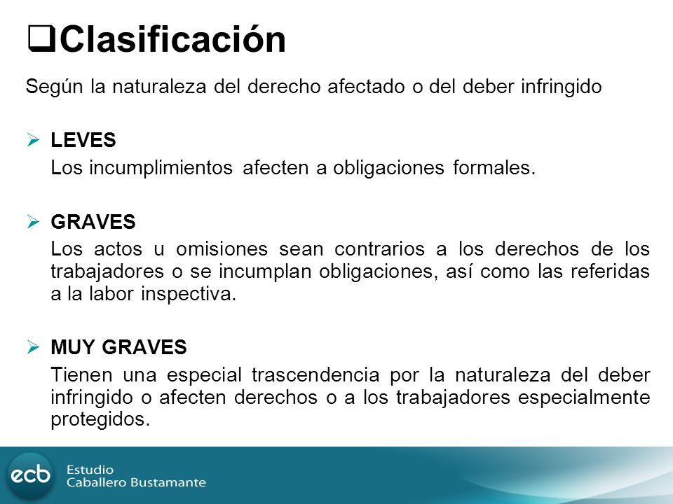 Clasificación Según la naturaleza del derecho afectado o del deber infringido LEVES Los incumplimientos afecten a obligaciones formales. GRAVES Los ac