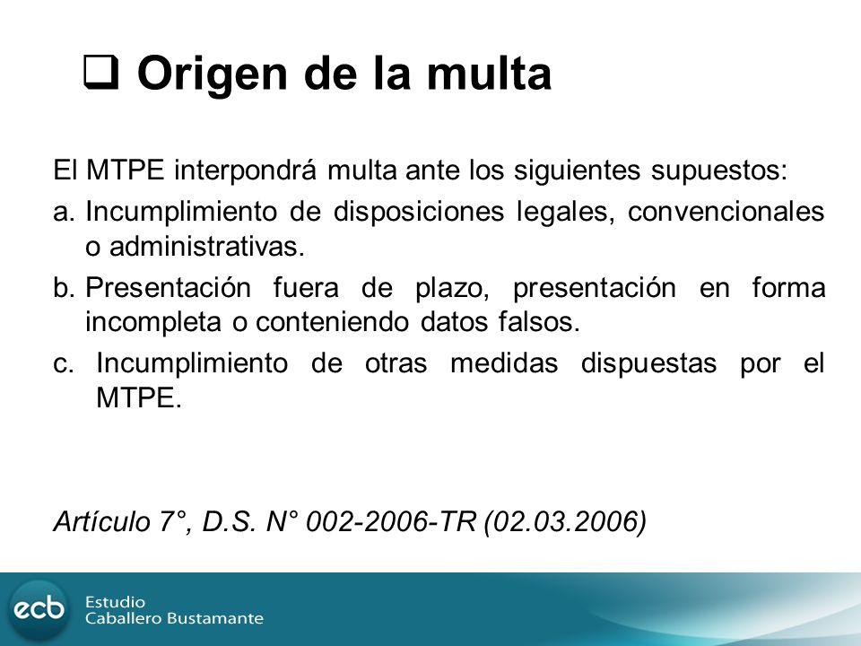 El MTPE interpondrá multa ante los siguientes supuestos: a.Incumplimiento de disposiciones legales, convencionales o administrativas. b.Presentación f