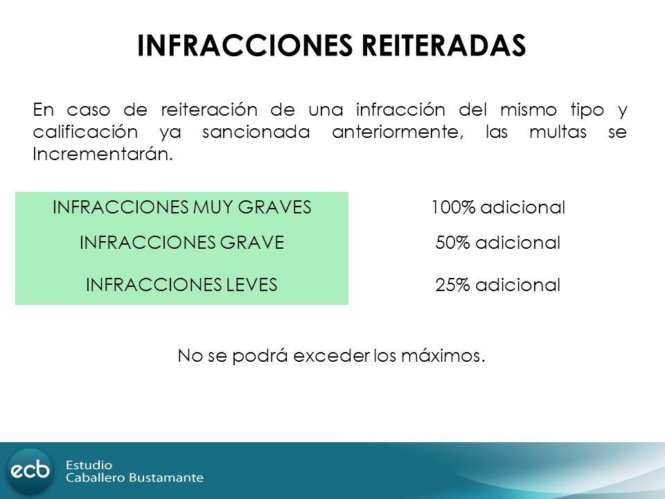 INFRACCIONES REITERADAS INFRACCIONES MUY GRAVES100% adicional INFRACCIONES GRAVE50% adicional INFRACCIONES LEVES25% adicional No se podrá exceder los