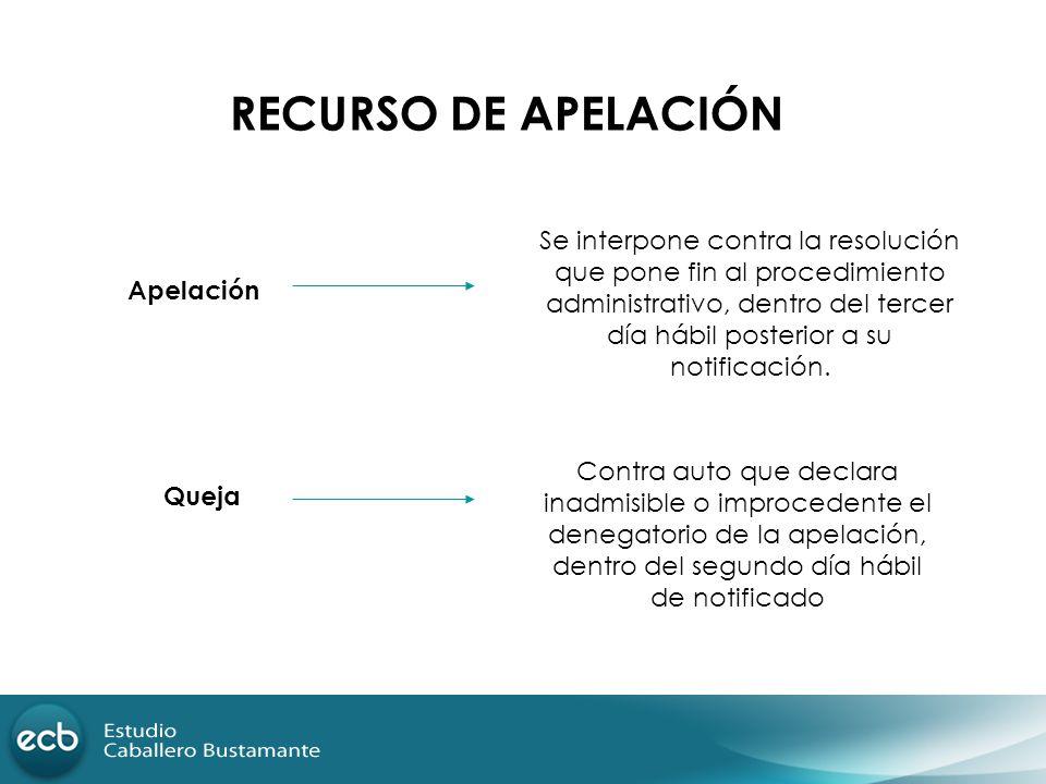 RECURSO DE APELACIÓN Se interpone contra la resolución que pone fin al procedimiento administrativo, dentro del tercer día hábil posterior a su notifi