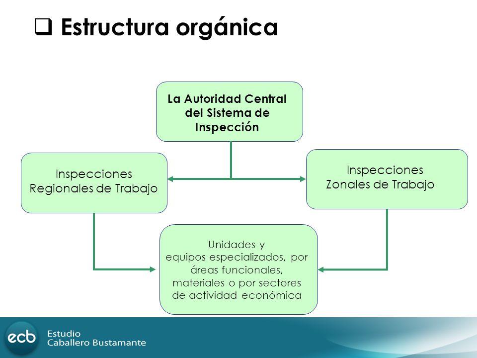 Estructura orgánica La Autoridad Central del Sistema de Inspección Inspecciones Regionales de Trabajo Inspecciones Zonales de Trabajo Unidades y equip