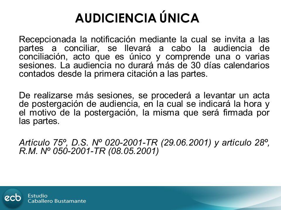 Recepcionada la notificación mediante la cual se invita a las partes a conciliar, se llevará a cabo la audiencia de conciliación, acto que es único y
