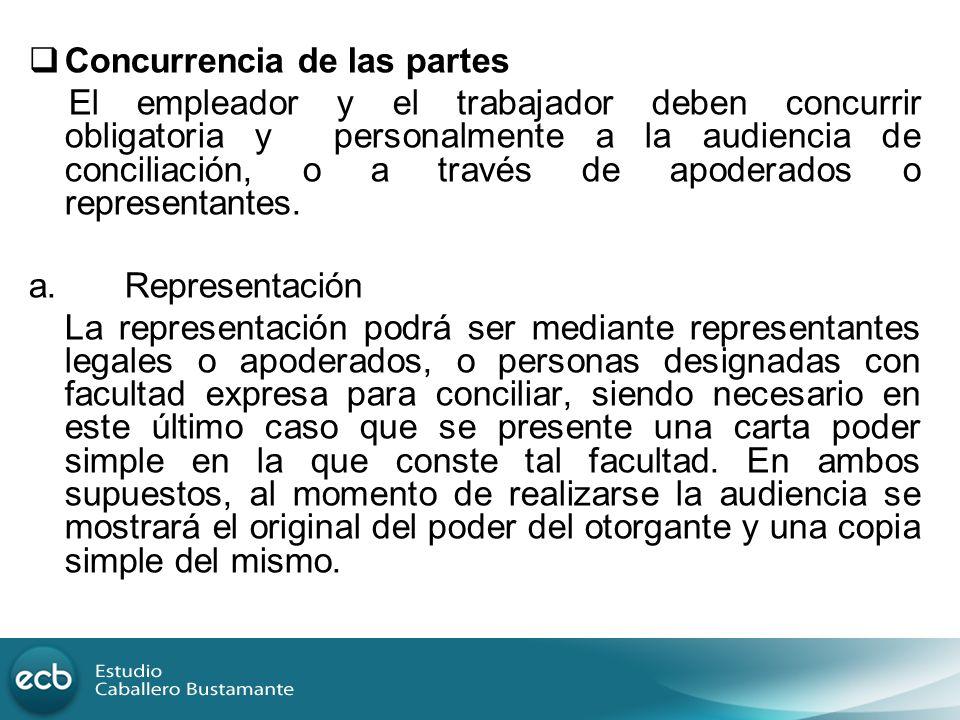 Concurrencia de las partes El empleador y el trabajador deben concurrir obligatoria y personalmente a la audiencia de conciliación, o a través de apod