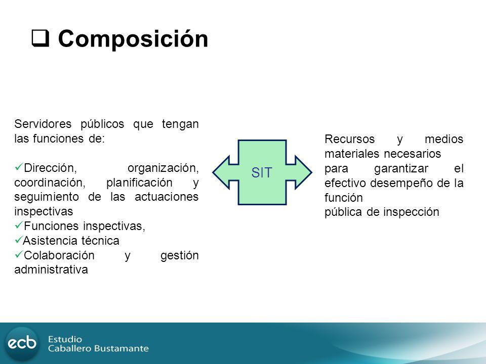 Composición Servidores públicos que tengan las funciones de: Dirección, organización, coordinación, planificación y seguimiento de las actuaciones ins