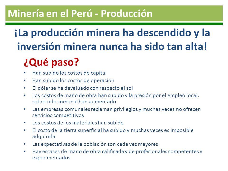 ¡La producción minera ha descendido y la inversión minera nunca ha sido tan alta! ¿Qué paso? Han subido los costos de capital Han subido los costos de
