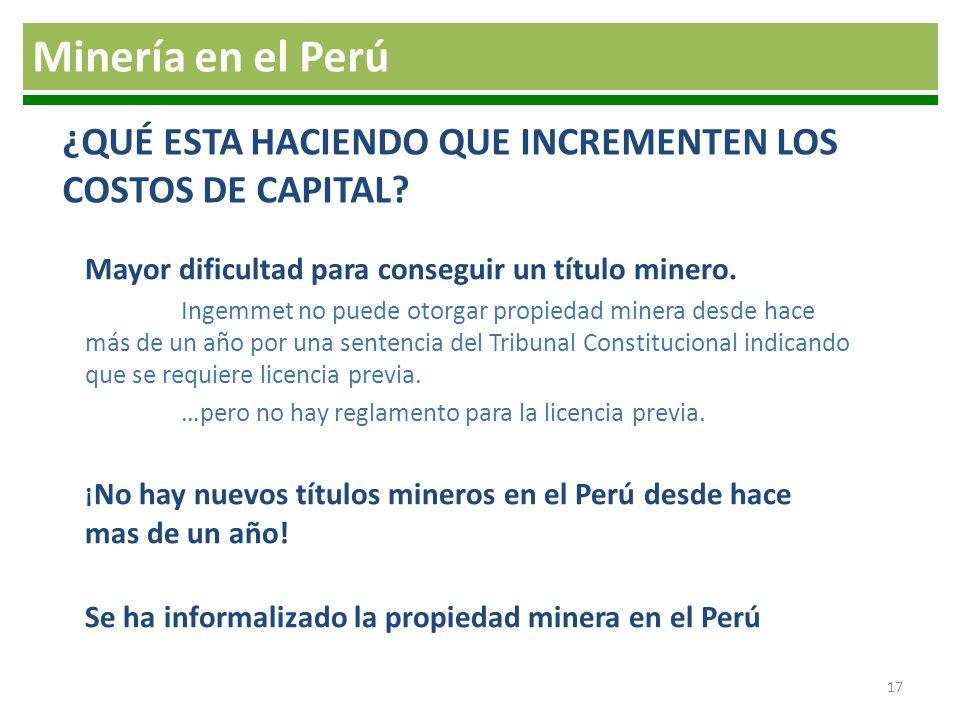 Mayor dificultad para conseguir un título minero. Ingemmet no puede otorgar propiedad minera desde hace más de un año por una sentencia del Tribunal C