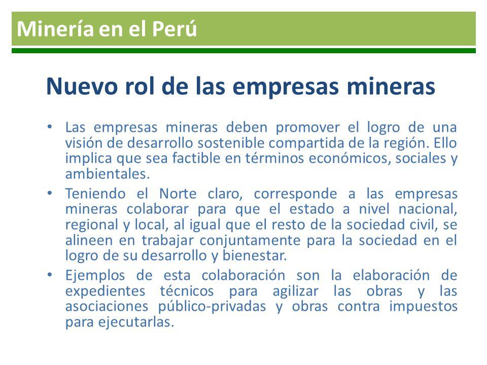 Nuevo rol de las empresas mineras Las empresas mineras deben promover el logro de una visión de desarrollo sostenible compartida de la región. Ello im