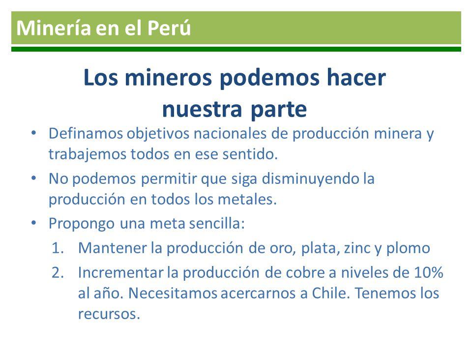 Los mineros podemos hacer nuestra parte Definamos objetivos nacionales de producción minera y trabajemos todos en ese sentido. No podemos permitir que