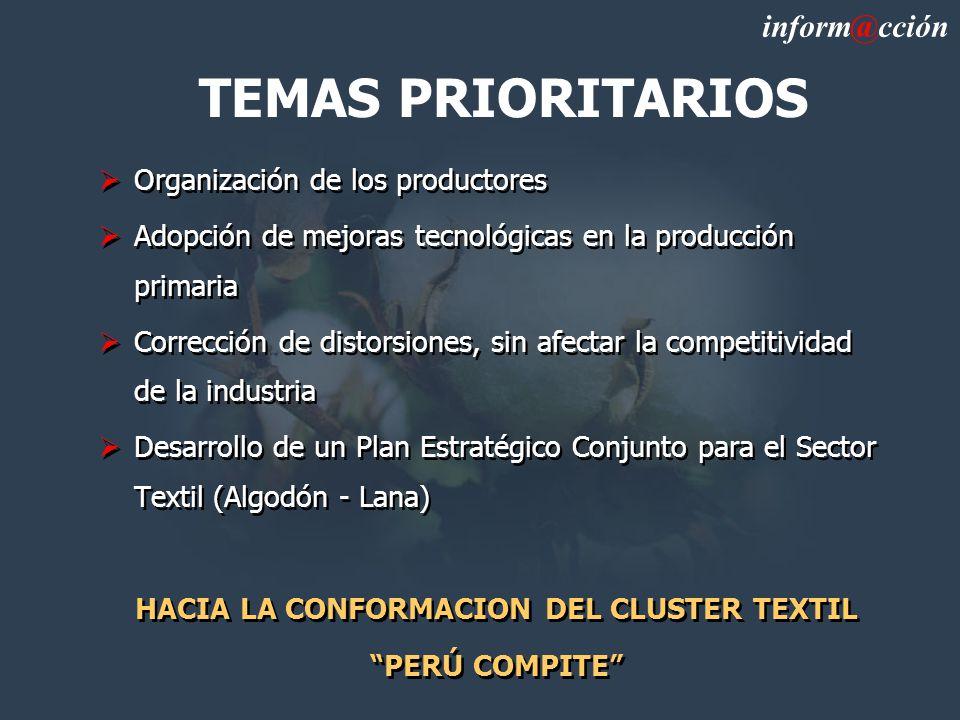 TEMAS PRIORITARIOS Organización de los productores Adopción de mejoras tecnológicas en la producción primaria Corrección de distorsiones, sin afectar la competitividad de la industria Desarrollo de un Plan Estratégico Conjunto para el Sector Textil (Algodón - Lana) HACIA LA CONFORMACION DEL CLUSTER TEXTIL PERÚ COMPITE Organización de los productores Adopción de mejoras tecnológicas en la producción primaria Corrección de distorsiones, sin afectar la competitividad de la industria Desarrollo de un Plan Estratégico Conjunto para el Sector Textil (Algodón - Lana) HACIA LA CONFORMACION DEL CLUSTER TEXTIL PERÚ COMPITE inform@cción