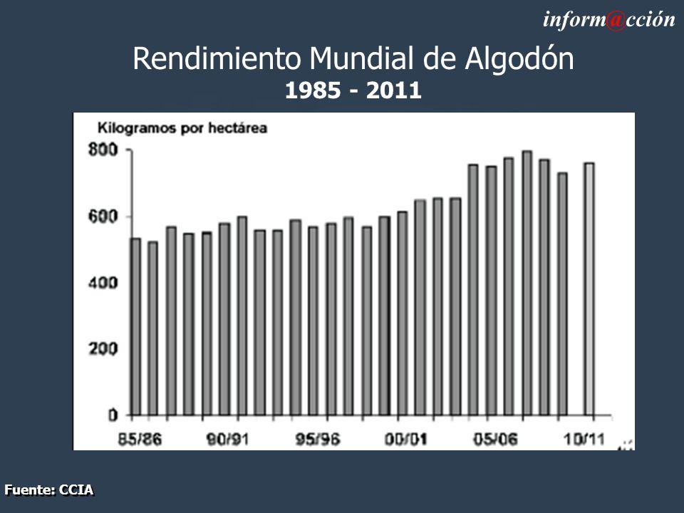 Rendimiento Mundial de Algodón 1985 - 2011 inform@cción Fuente: CCIA