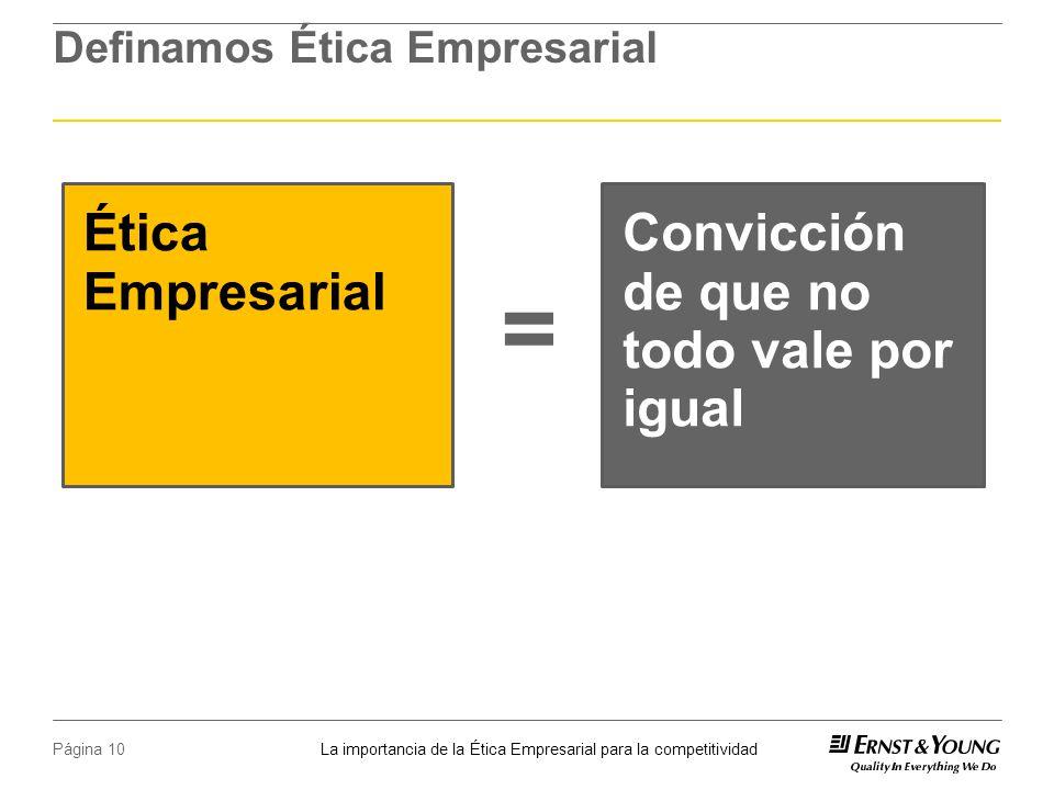 La importancia de la Ética Empresarial para la competitividad Página 10 Definamos Ética Empresarial Ética Empresarial Convicción de que no todo vale por igual =
