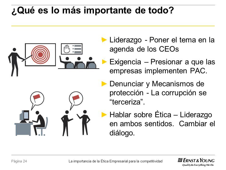 La importancia de la Ética Empresarial para la competitividad Página 24 ¿Qué es lo más importante de todo.