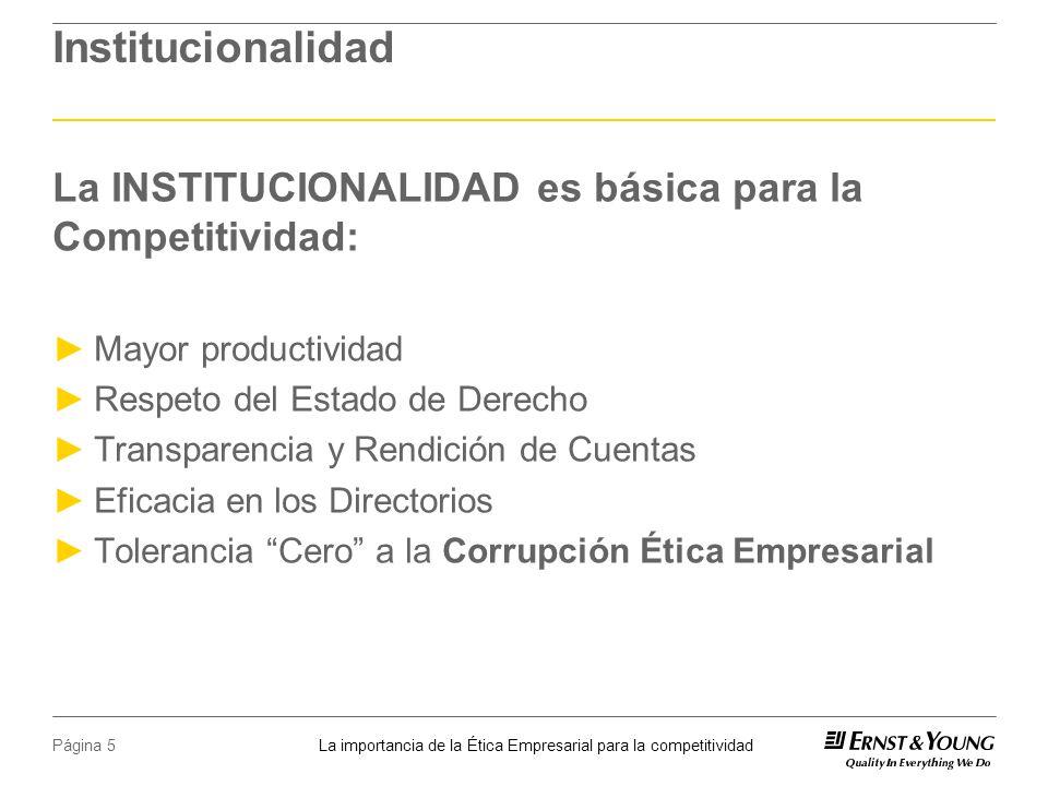 La importancia de la Ética Empresarial para la competitividad Página 5 Institucionalidad La INSTITUCIONALIDAD es básica para la Competitividad: Mayor productividad Respeto del Estado de Derecho Transparencia y Rendición de Cuentas Eficacia en los Directorios Tolerancia Cero a la Corrupción Ética Empresarial