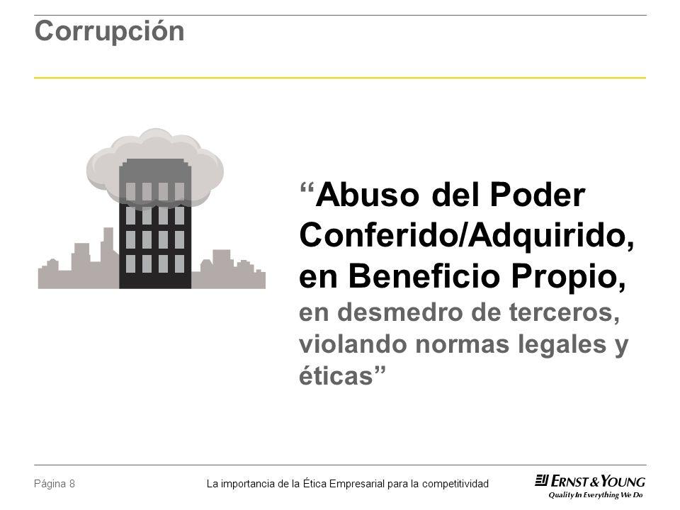 La importancia de la Ética Empresarial para la competitividad Página 8 Corrupción Abuso del Poder Conferido/Adquirido, en Beneficio Propio, en desmedro de terceros, violando normas legales y éticas