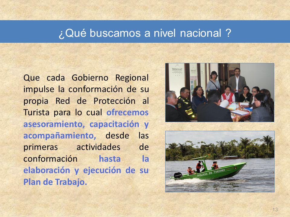 13 Que cada Gobierno Regional impulse la conformación de su propia Red de Protección al Turista para lo cual ofrecemos asesoramiento, capacitación y a