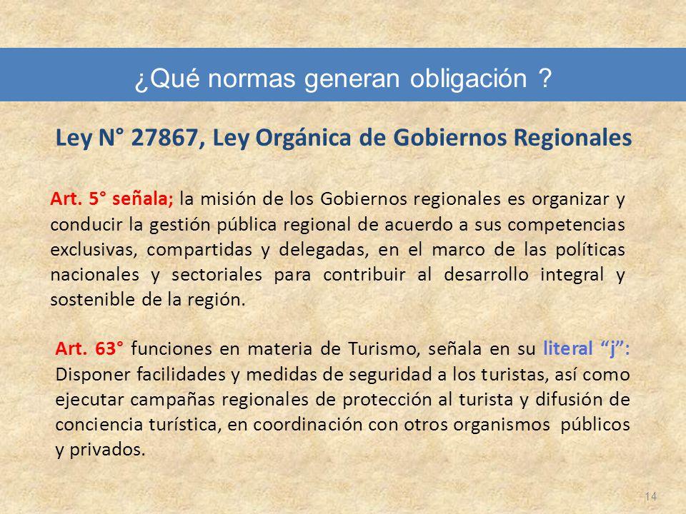 Ley N° 27867, Ley Orgánica de Gobiernos Regionales 14 Art. 5° señala; la misión de los Gobiernos regionales es organizar y conducir la gestión pública