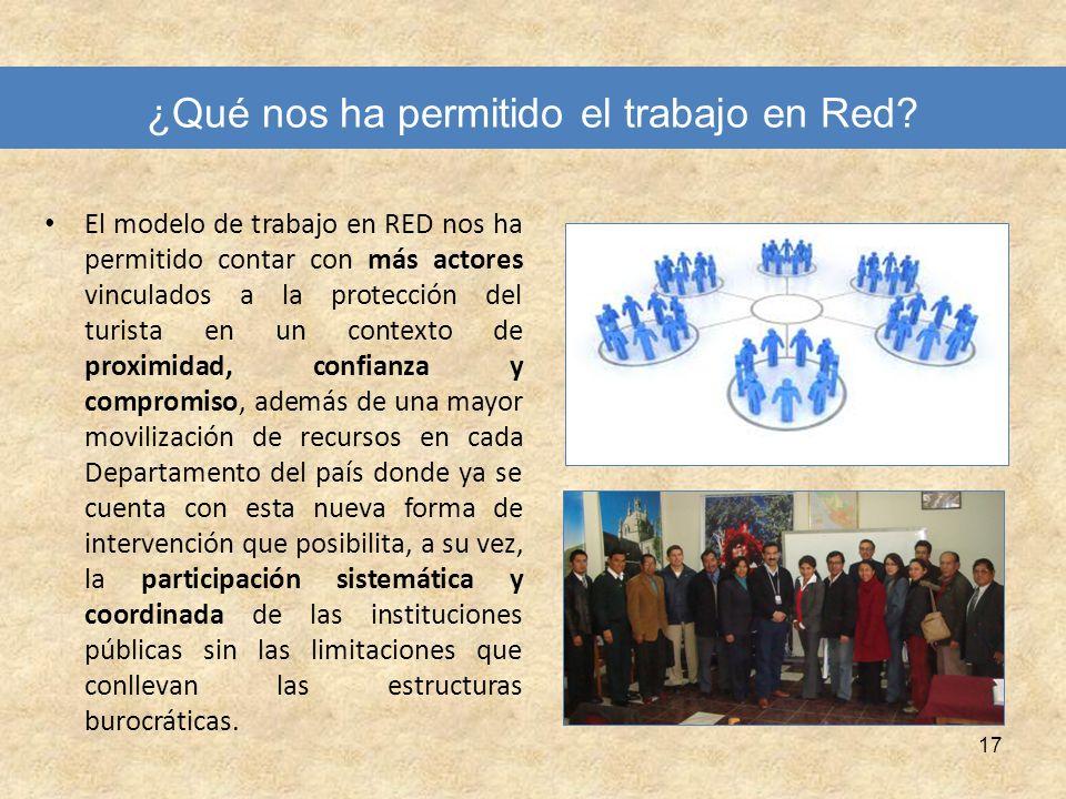 17 ¿Qué nos ha permitido el trabajo en Red? El modelo de trabajo en RED nos ha permitido contar con más actores vinculados a la protección del turista