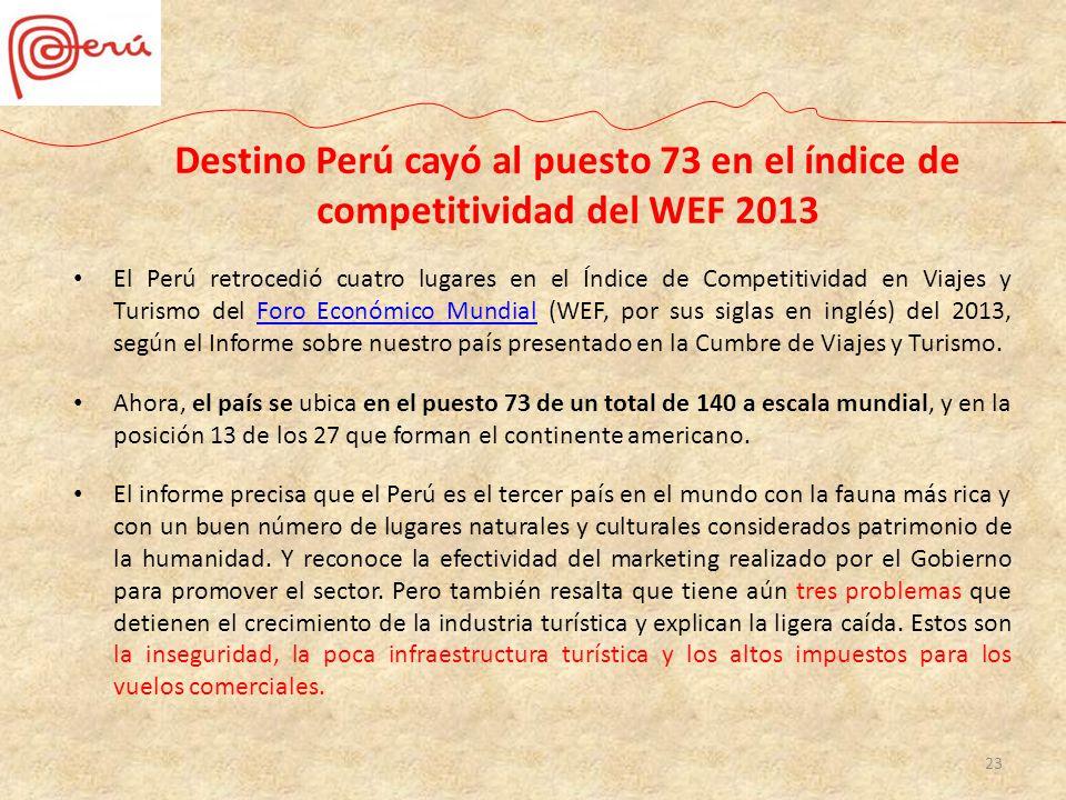 23 Destino Perú cayó al puesto 73 en el índice de competitividad del WEF 2013 El Perú retrocedió cuatro lugares en el Índice de Competitividad en Viaj