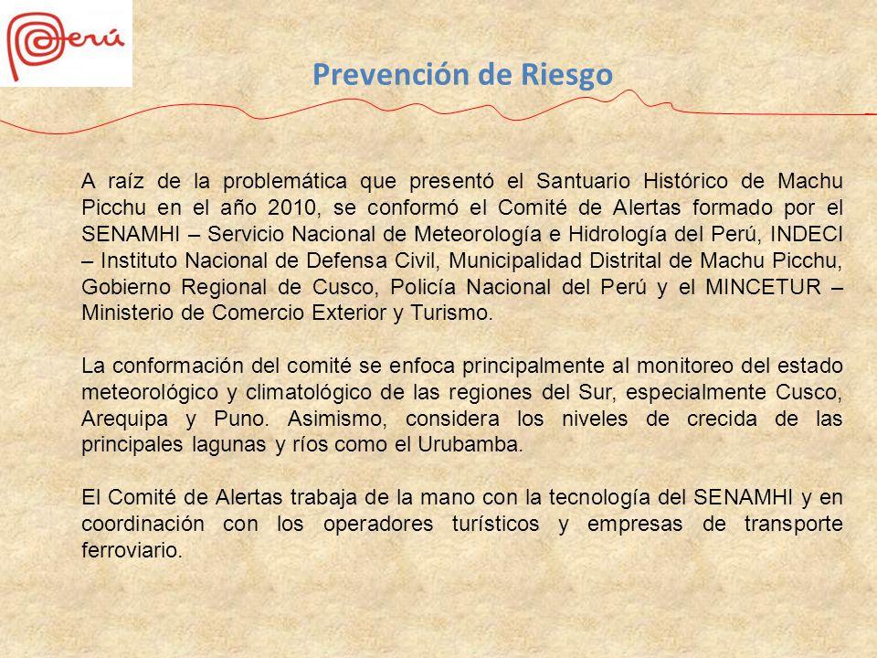 A raíz de la problemática que presentó el Santuario Histórico de Machu Picchu en el año 2010, se conformó el Comité de Alertas formado por el SENAMHI