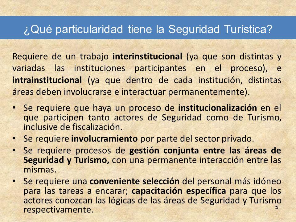 5 ¿Qué particularidad tiene la Seguridad Turística? Requiere de un trabajo interinstitucional (ya que son distintas y variadas las instituciones parti