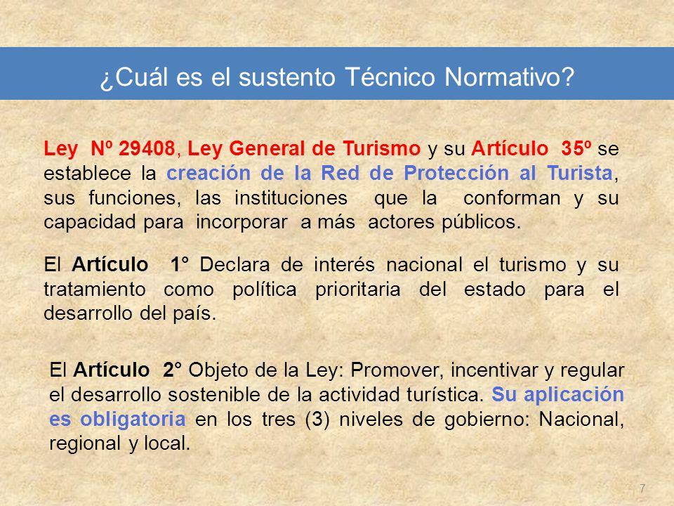 7 Ley Nº 29408, Ley General de Turismo y su Artículo 35º se establece la creación de la Red de Protección al Turista, sus funciones, las instituciones
