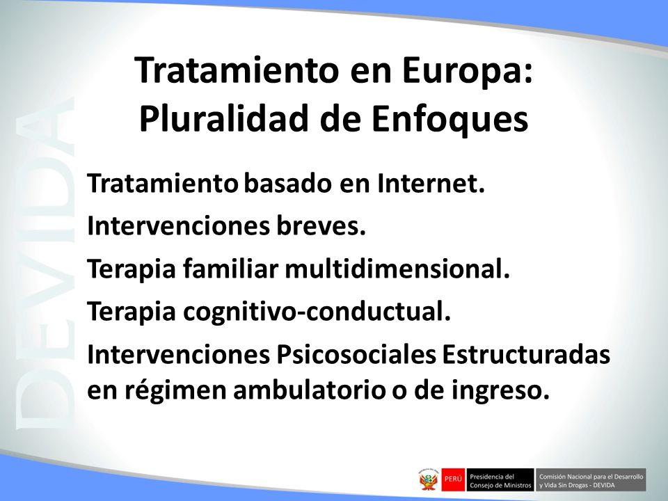 Tratamiento en Europa: Pluralidad de Enfoques Tratamiento basado en Internet. Intervenciones breves. Terapia familiar multidimensional. Terapia cognit