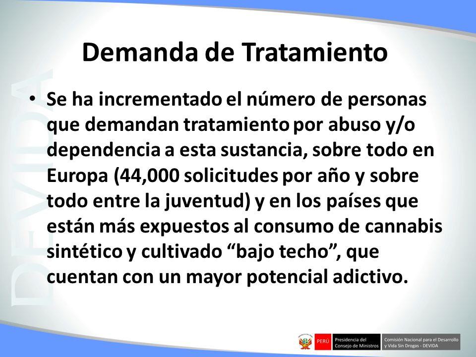 Demanda de Tratamiento Se ha incrementado el número de personas que demandan tratamiento por abuso y/o dependencia a esta sustancia, sobre todo en Eur